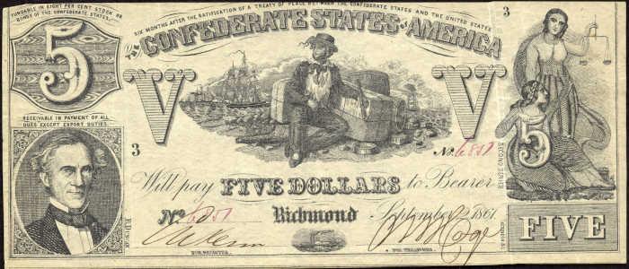 T-37 1861 Richmond $5 Confederate Paper Money