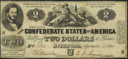 T-38 1861 Richmond $2 Confederate Paper Money