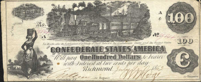 T-39 1862 Richmond $100 Confederate Paper Money