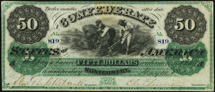 T-4 1861 Montgomery $50 Confederate Paper Money