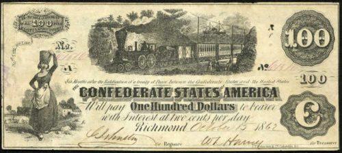 T-40 1862 Richmond $100 Confederate Paper Money
