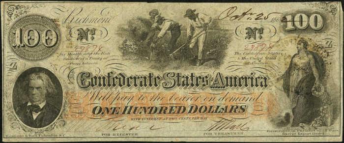 T-41 1862 Richmond $100 Confederate Paper Money