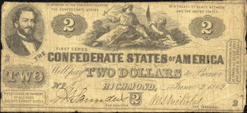 T-42 1862 Richmond $2 Confederate Paper Money