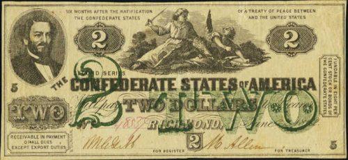 T-43 1862 Richmond $2 Confederate Paper Money