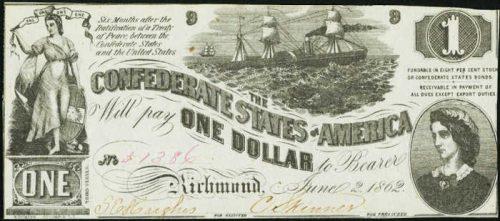 T-44 1862 Richmond $1 Confederate Paper Money