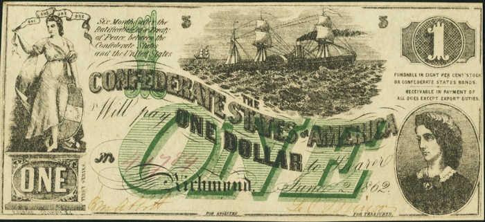 T-45 1862 Richmond $1 Confederate Paper Money