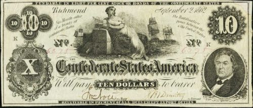T-46 1862 Richmond $10 Confederate Paper Money