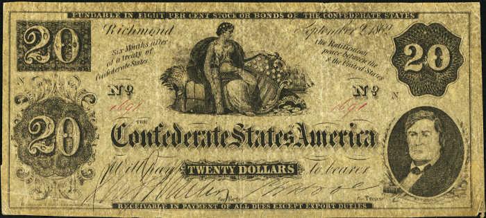 T-47 1862 Richmond $20 Confederate Paper Money