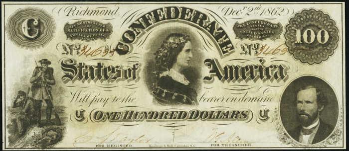T-49 1862 Richmond $100 Confederate Paper Money