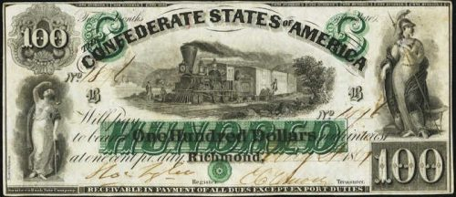 T-5 1861 Richmond $100 Confederate Paper Money