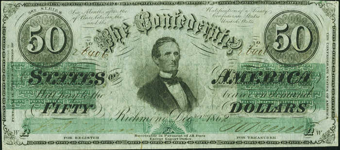 T-50 1862 Richmond $50 Confederate Paper Money