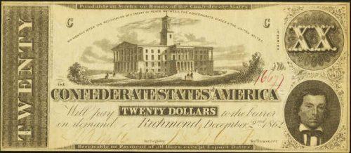 T-51 1862 Richmond $20 Confederate Paper Money