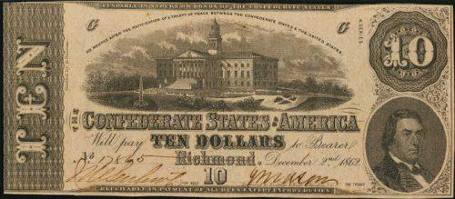 T-52 1862 Richmond $10 Confederate Paper Money