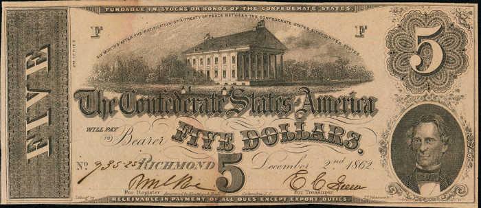 T-53 1862 Richmond $5 Confederate Paper Money