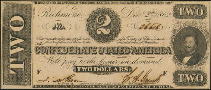 T-54 1862 Richmond $2 Confederate Paper Money