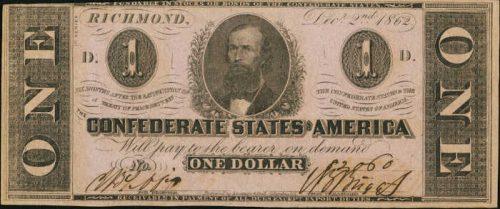 T-55 1862 Richmond $1 Confederate Paper Money