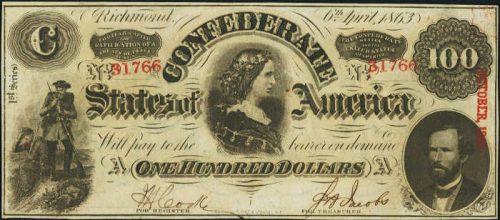 T-56 1863 Richmond $100 Confederate Paper Money