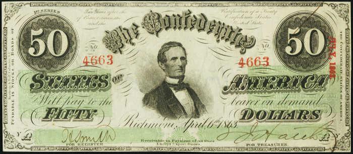 T-57 1863 Richmond $50 Confederate Paper Money