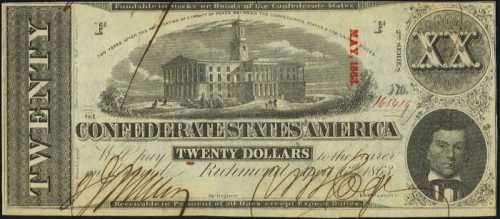 T-58 1863 Richmond $20 Confederate Paper Money