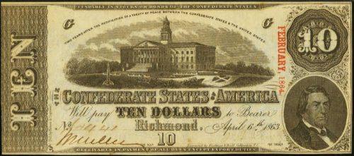 T-59 1863 Richmond $10 Confederate Paper Money
