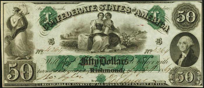 T-6 1861 Richmond $50 Confederate Paper Money
