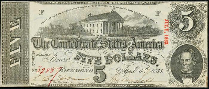T-60 1863 Richmond $5 Confederate Paper Money