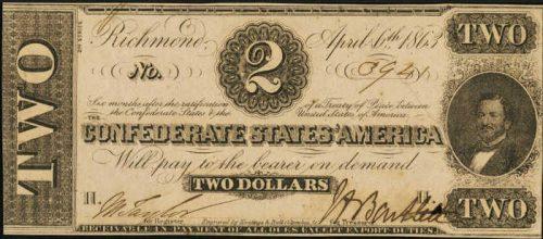 T-61 1863 Richmond $2 Confederate Paper Money
