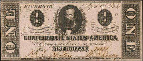 T-62 1863 Richmond $1 Confederate Paper Money