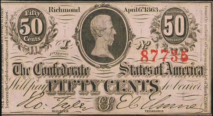 T-63 1863 Richmond 50 Cents Confederate Paper Money