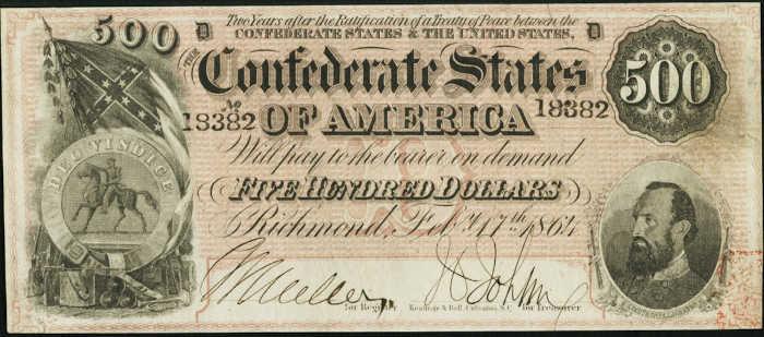 T-64 1864 Richmond $500 Confederate Paper Money