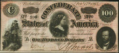 T-65 1864 Richmond $100 Confederate Paper Money