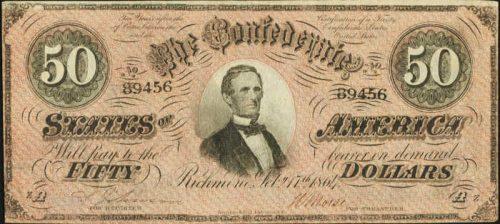 T-66 1864 Richmond $50 Confederate Paper Money