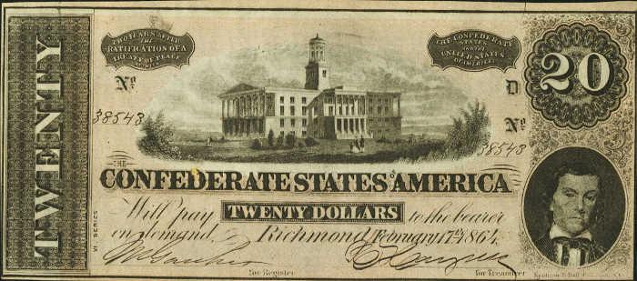 T-67 1864 Richmond $20 Confederate Paper Money