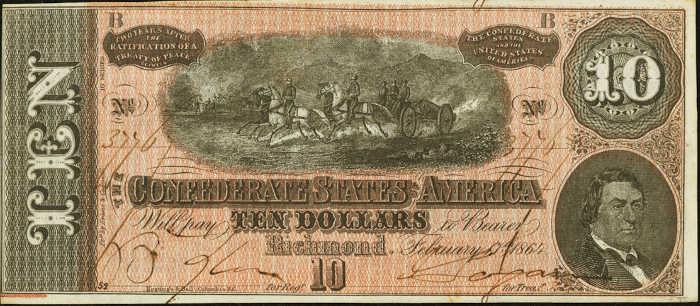 T-68 1864 Richmond $10 Confederate Paper Money