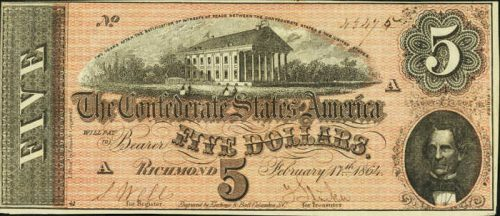 T-69 1864 Richmond $5 Confederate Paper Money