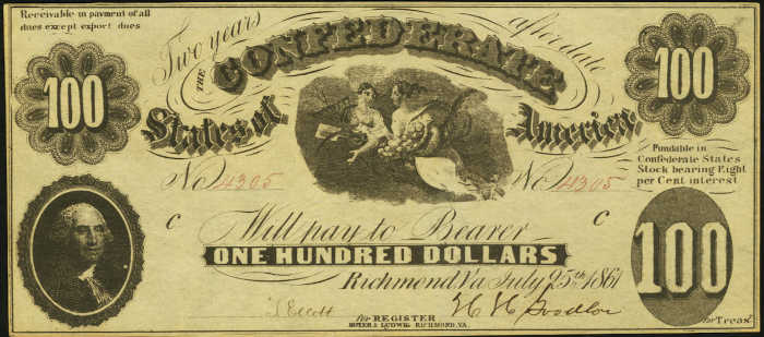 T-7 1861 Richmond $100 Confederate Paper Money