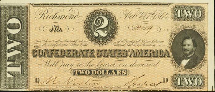 T-70 1864 Richmond $2 Confederate Paper Money