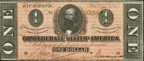 T-71 1864 Richmond $1 Confederate Paper Money