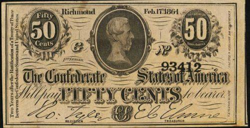 T-72 1864 Richmond 50 Cents Confederate Paper Money