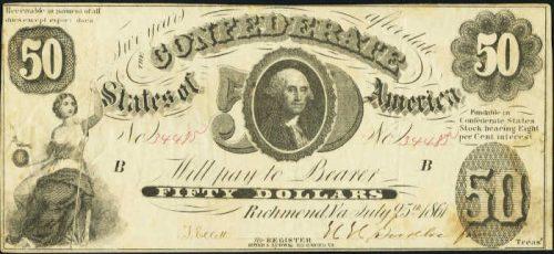 T-8 1861 Richmond $50 Confederate Paper Money