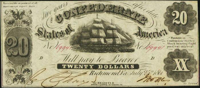 T-9 1861 Richmond $20 Confederate Paper Money