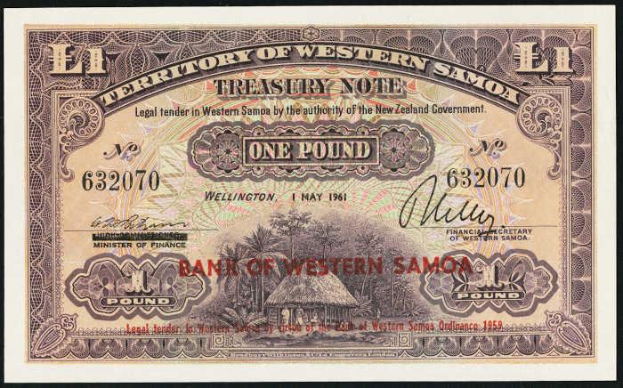 Western Samoa 1 Pound 1st May 1961 Treasury Note