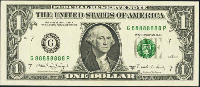 Picture of $1 bill with fancy serial number